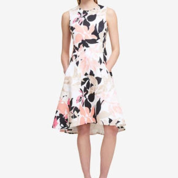 86b81e8a5b7 DKNY LEAF PRINT Fit   Flare Dress NWT